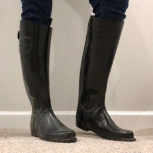Burberry Black Rubber Rain Boots Sz 39 LL